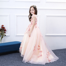 Peach Baby Pageant Dresses For Little Girls Flower Girl Dresses for Weddings Girls Kids Ball Gown First Communion Dress 2018 long kids prom dress beaded ball gown dress for girls fantasia infantil para menina little girls pageant dresses 2 12 years