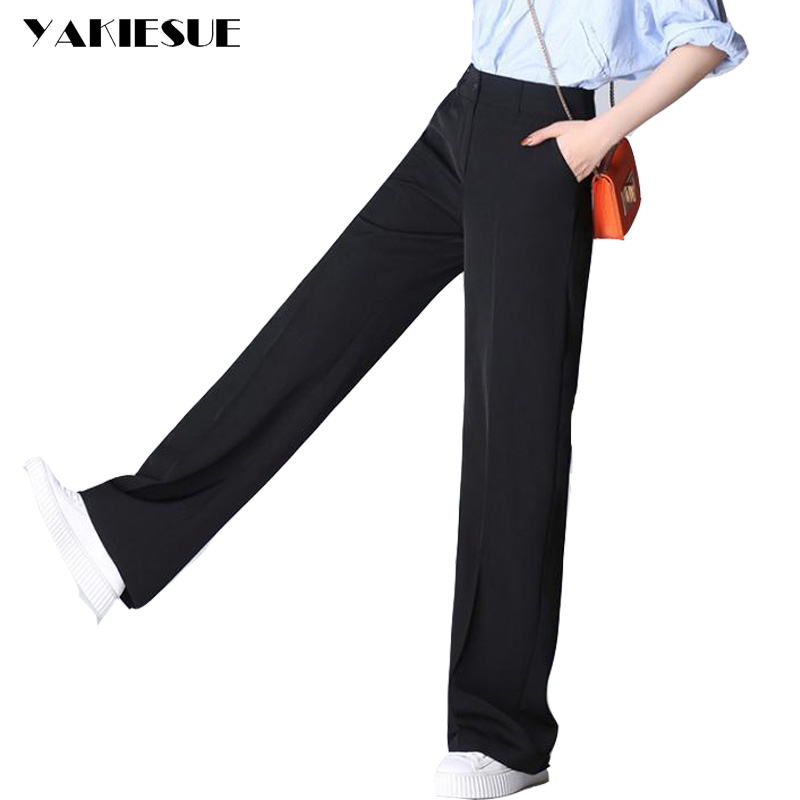 Wide     leg     pants   women straight loose long   pants   capris 2017 summer high waist OL office bottom female trousers Plus size 4XL