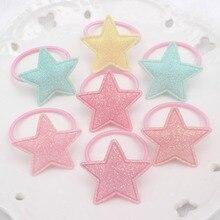 Новинка, резинки с геометрическими пятиконечными звездами для девочек, диаметр 30 мм+ 30 мм, милые аксессуары для волос для детей, эластичные резинки для волос