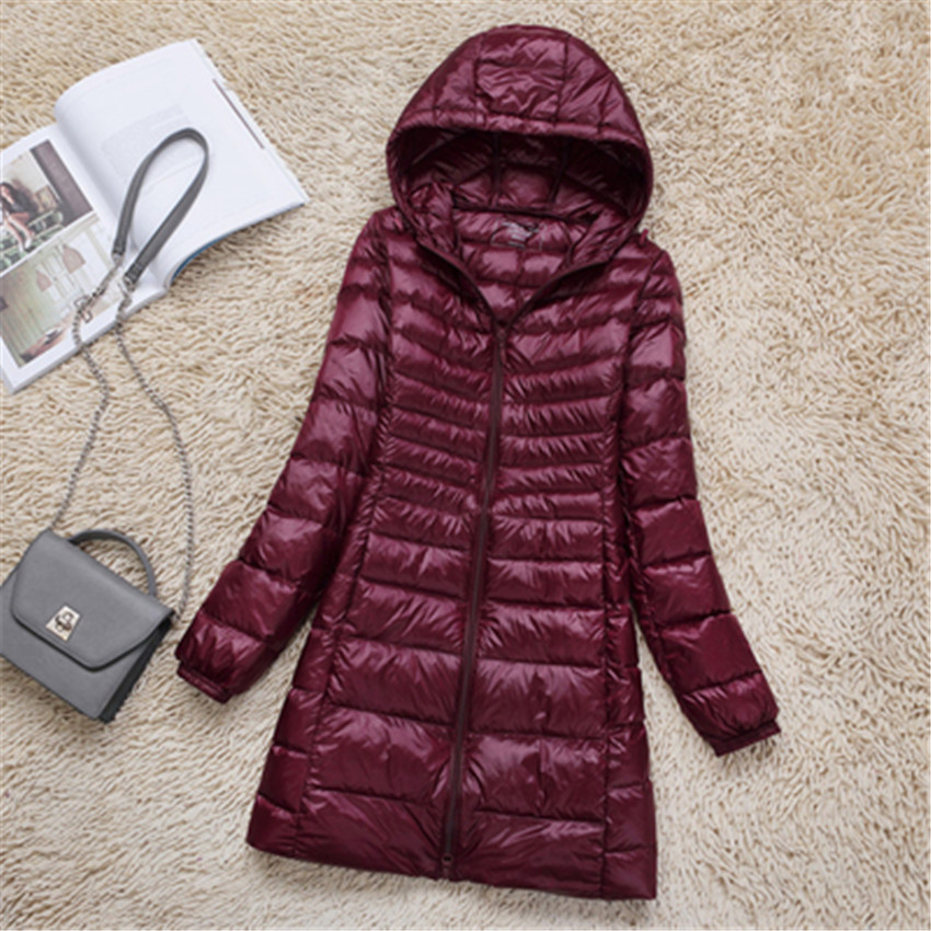 2019 Winter Women Slim Plus Size   Down   Jacket Midi Long   Down     Coat   Lady White Duck   Down   Jacket Hooded   Coats   Female Jackets WZ109