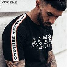 YEMEKE Mens T Shirt 2018 New Fashion Striped T
