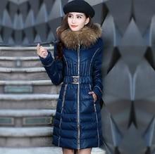 Latest Fashion Women Winter Elegant Slim Medium Long Down jacket Heavy hair collar Hooded Thickening Super Warm Coat Women G1785