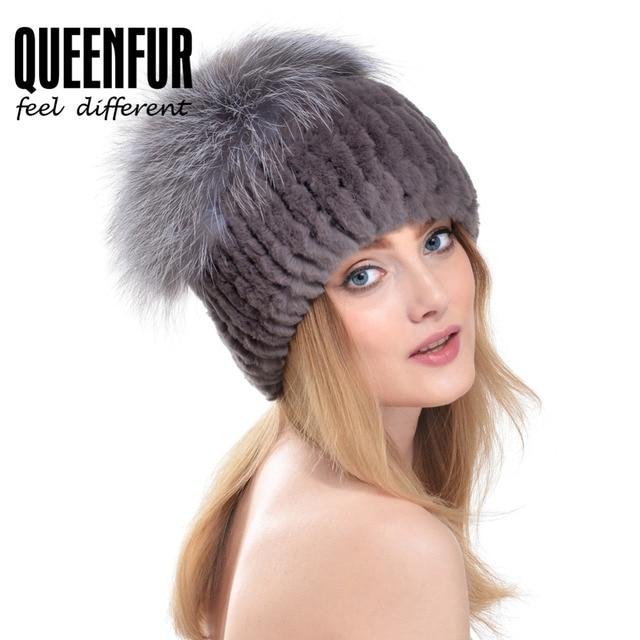 d58584514af QUEENFUR Women Knitted Genuine Rabbit Fur Cap HatWith Silver Fox Fur Top  Beanies 2016 New Arrival