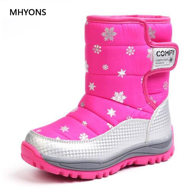 Зимние ботинки MHYONS, обувь для детей, теплые водонепроницаемые зимние ботинки для девочек, утепленные плюшевые зимние ботинки на подошве из ...