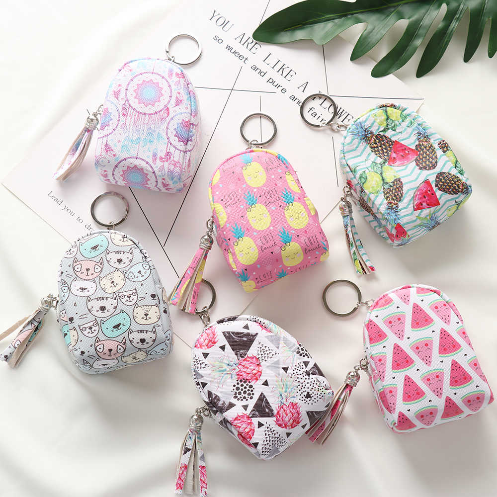 1Pcs 2019 High Quality PU Cute Coin Purse Women Girls Mini Bag Keys Card Holder Wallet Money Bags Earphone Package Kids Gifts
