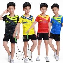 BOY Badminton wear short-sleeve shirt suit Kid Table Tennis t shirt clothes,child breathable Tennis shirts shorts tracksuit Sets