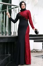 A-line With Hijab Black and Red Color Lace Overlay Elegant High Collar Casual Muslim Long Sleeve Red Evening Dress