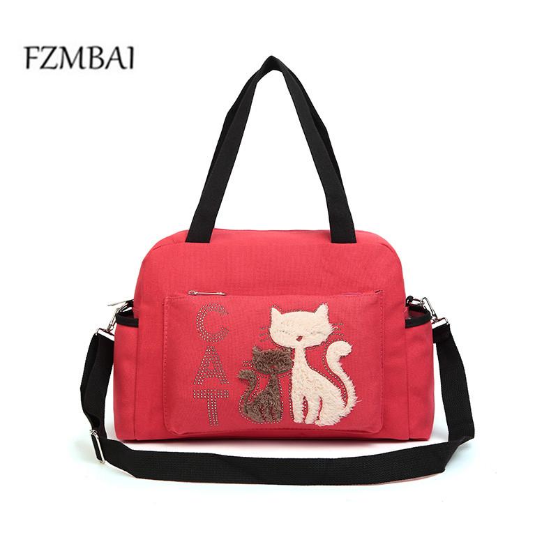 Prix pour 2017 femmes sacs à main solide couleur toile sac d'épaule de dames de mode sac avec mignon cat appliques portable grande capacité fourre-tout décontracté