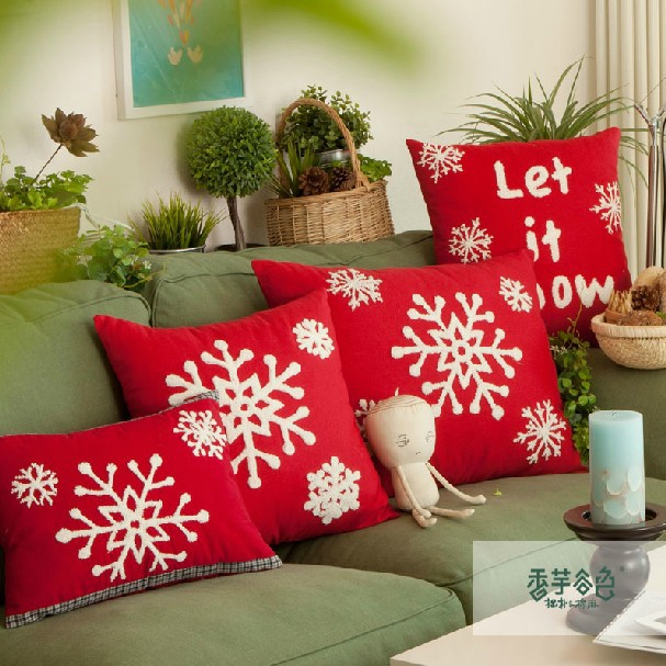Free Shipping 2pcs Lot Home Snow Kiss Design Red Handmade Woolen Embroidery Lumbar Pillow Cushion Cover 45x45cm C7030 In From Garden On