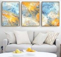 Мечта синий и желтый абстрактный ручной работы холст картины модульные картины стены искусства холст для гостиной украшения не оформлена