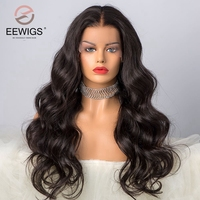 Body Wave Hair Wig Lace Front Wigs With Natural Hairline Black Color High Temperature Fiber Synthetic Lace Front Wig