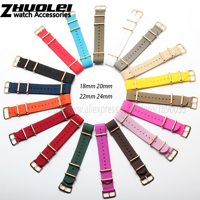 3 gold rings with gold buckle Nylon watchband 18mm 20mm 22mm 24mm nato nylon watch straps free shipping new high quality straps for nato 18mm 19mm 20mm 21mm 22mm 23mm 24mm 26mm black green sports leisure woven nylon watch straps