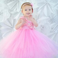 Pink Pearl Couture Flower Girl Tutu Dress Christening Evening Gowns Dress Handmade Kids Summer Dress For