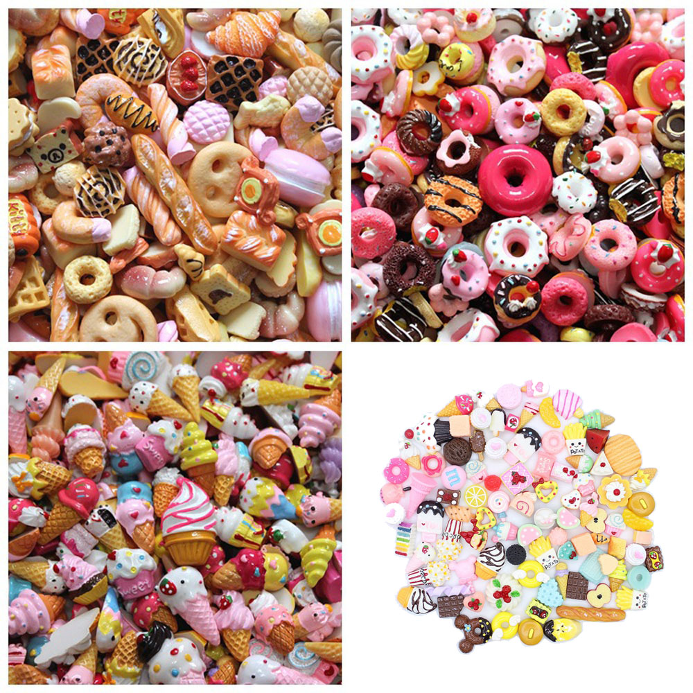 10pcs Mini Bread Ice Cream Donut DIY Craft Toys Supplies Accessories Phone Case Decoration For Slime Filler Miniature Resin Toys
