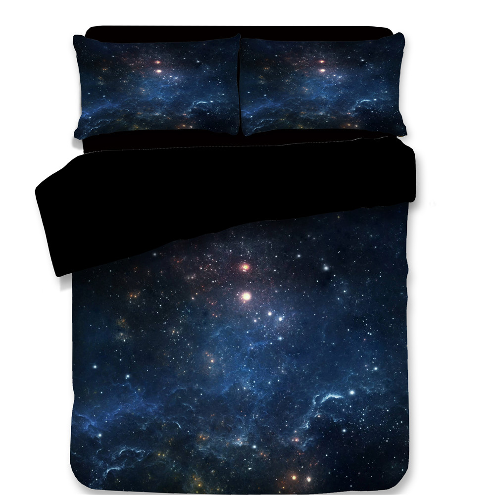 3D Nebula Outer Space Star Galaxy Bedding Set Duvet Cover Sets Plaid Pillowcase Queen Twin King Bed Set Blue White Bedclothes