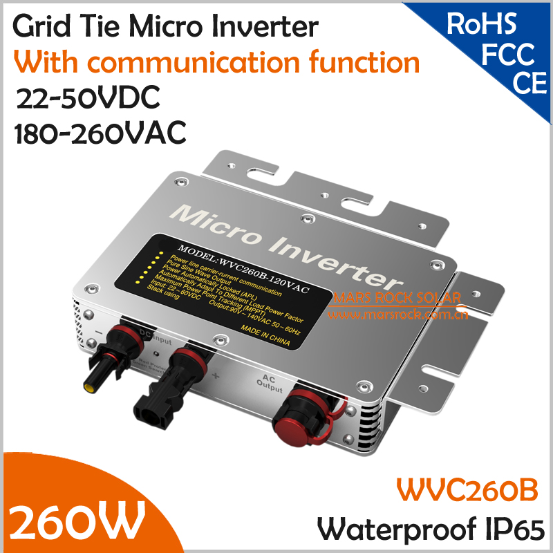 IP65!! 260W Grid Tie Micro Inverter with Communication Function, 22-50VDC to 190-260VAC 47-62.5Hz Pure Sine Wave with MPPT 22 50v dc to ac110v or 220v waterproof 1200w grid tie mppt micro inverter with wireless communication function for 36v pv system
