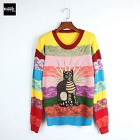 2018 New Autumn Runway Designer Rainbow Women Sweater Pullover Embroidery Striped Cat Lace Sweaters Winter Knitted