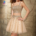 New Arrival Two Pieces Cocktail Dresses Tulle Prom Dress Beading Crystal Homecoming Graduation Party Gowns