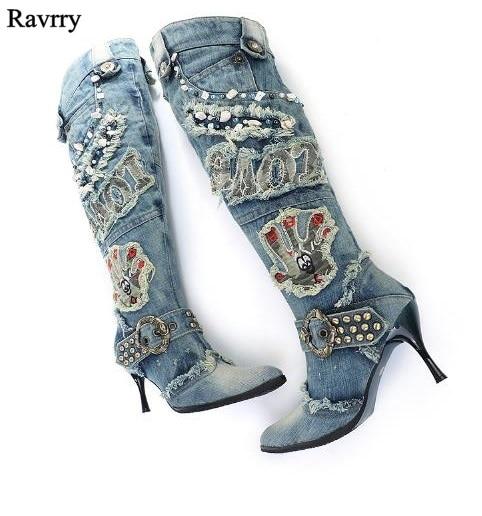 Women Denim Boots High Heel Knee High Boots Rhinestone Beading Botas Winter Warm Jean Gladiator Women Dress Boots