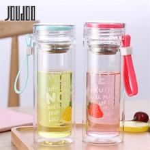 JOUDOO Creative Large Capacity Water Bottle Fruit Pattern Leak Proof Glass Sports Travel Protable Drinking 35