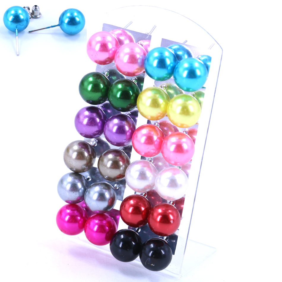 Gratis Pengiriman Hot Jual Murah 12mm Resin Plastik Bola Simulasi Pearl Iron Tongkat Stud Earrings Fashion Jewelry 60 pairs / lot