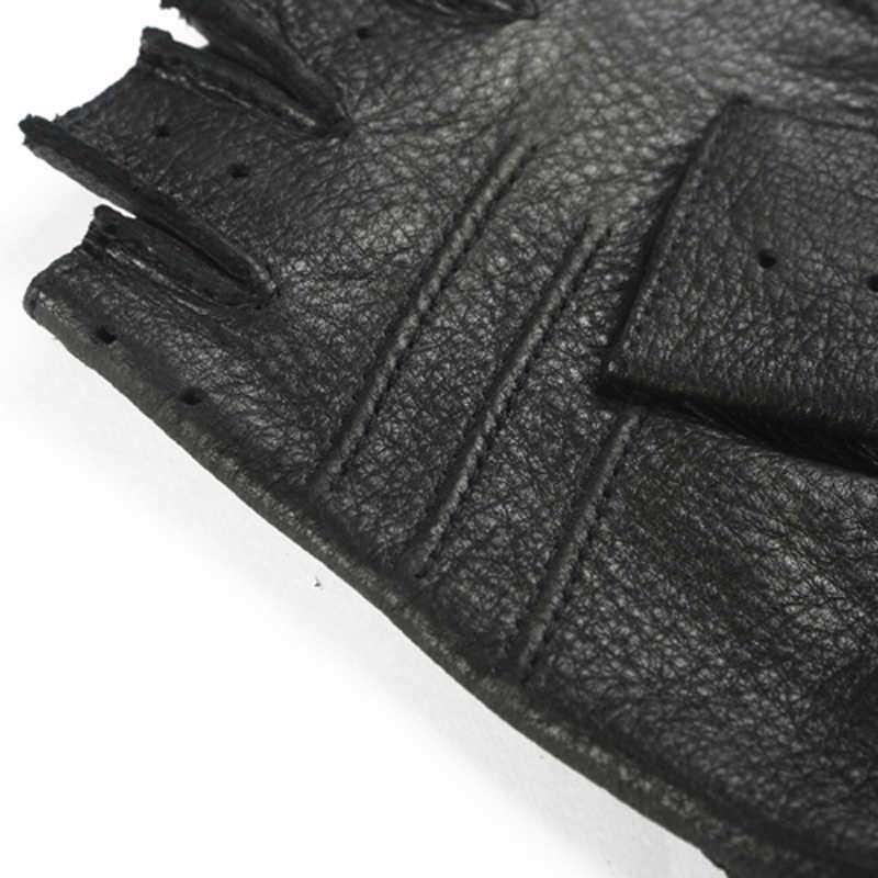 Svadilfari 春メンズ本革手袋駆動裏地なし 100% 鹿半指手袋指なしジムフィットネス手袋