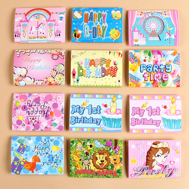 12pcs Lot Childrens Birthday Supplies Creative Invitation Card Party Cartoon Design Invitations