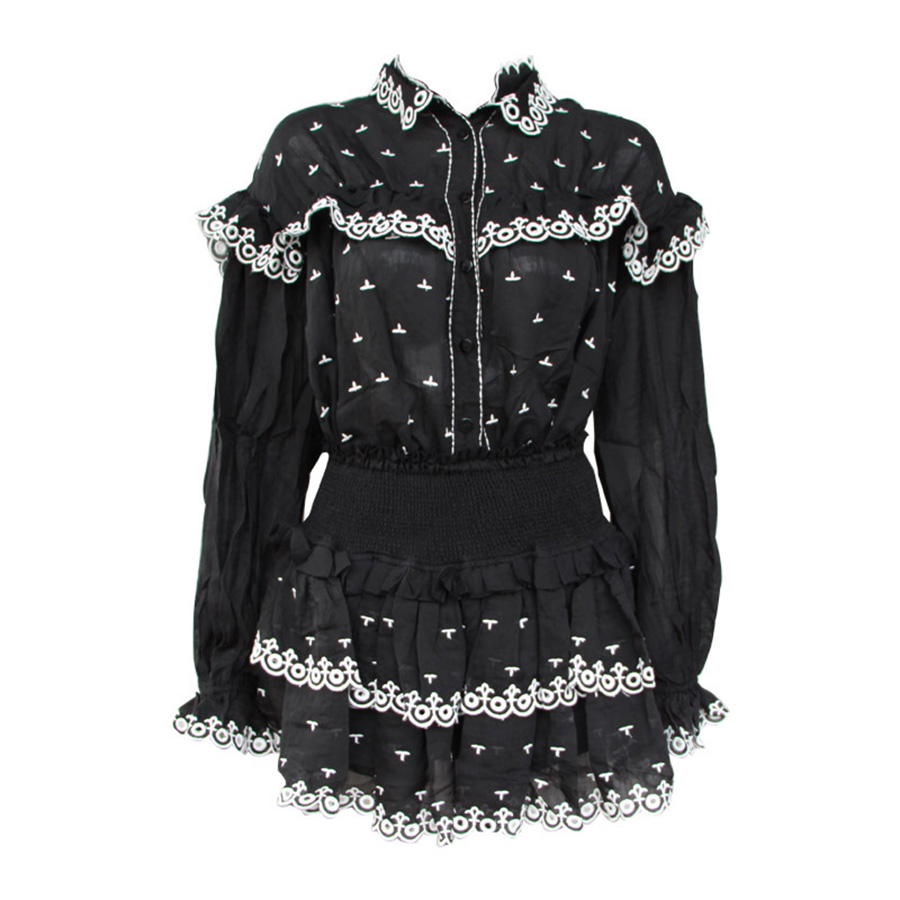 2019 Summer White Black Hit Color Runway Women Two Piece Outfits Embroidered Lace Turn down Collar Top Elastic Waist Mini Skirt in Women 39 s Sets from Women 39 s Clothing