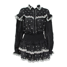 2019 Summer White Black Hit Color Runway Women Two Piece Outfits Embroidered Lace Turn-down Collar Top Elastic Waist Mini Skirt