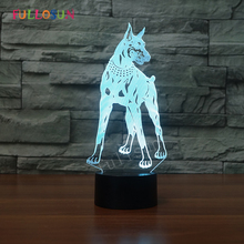 Dobermann 3D Table Lamp LED USB Dog Lights 7 Colors Kids Room Decorative 3D Lamp as Christmas Novelty Gift cute unicorn horse animal 3d led 7 colorful wood lamp as lights for kids gift
