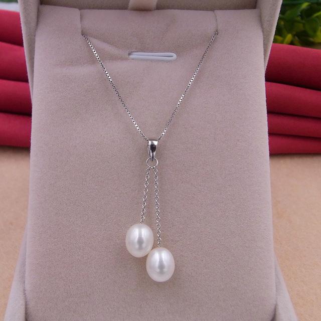 Genuine pérolas de água doce Dupla colares & pingentes para as mulheres 6-10mm pérolas Naturais 925 Prata colar De Pérolas de Casamento jóias