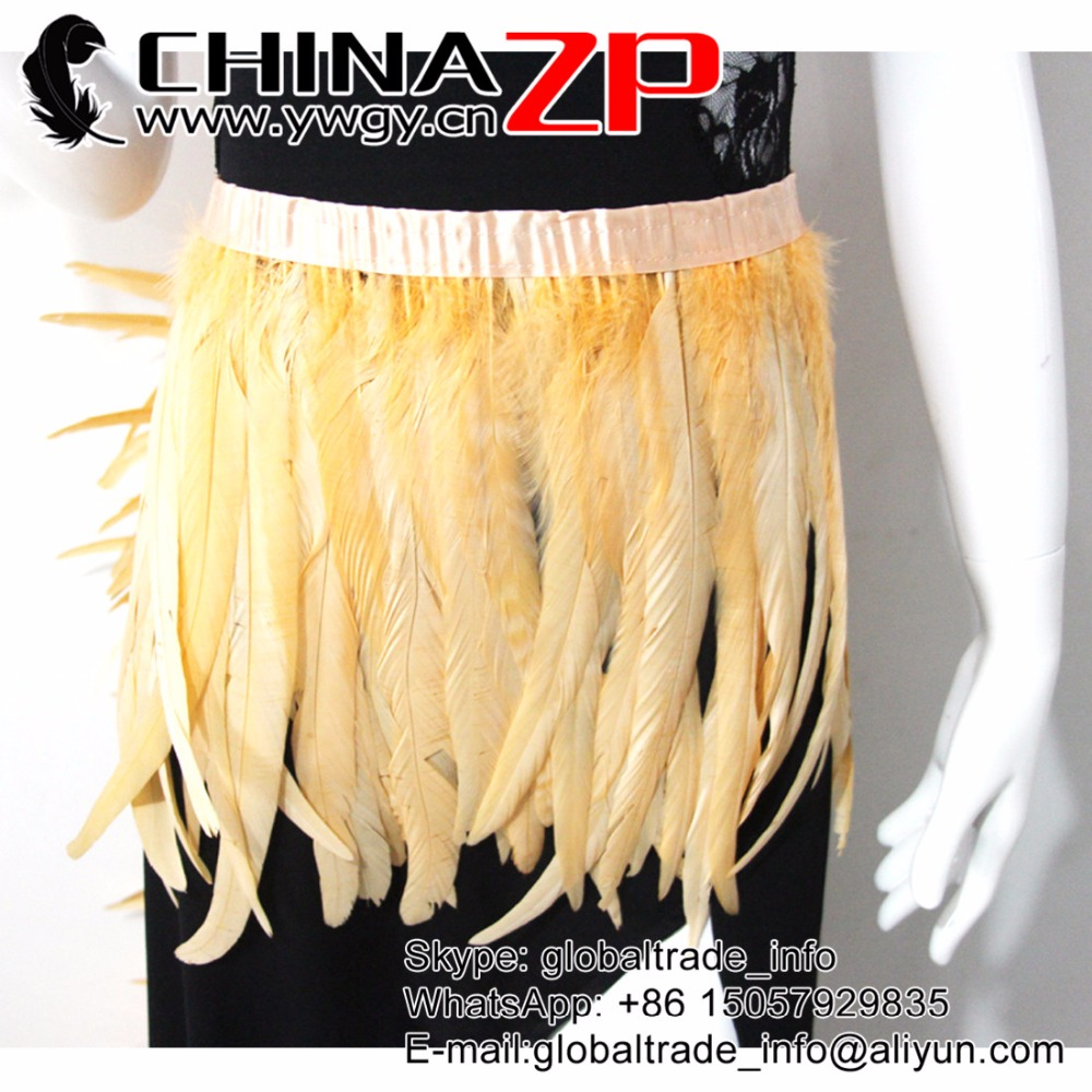 Leading Supplier CHINAZP Trimming Feathers New Arrival  Prime Quality Dyed Light Yellow Rooster Tail Feather Fringe Wholesale