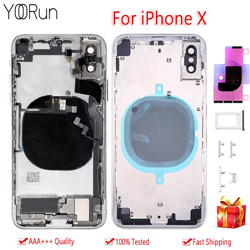 Glass Body Housing For iPhone X Battery Back Cover For