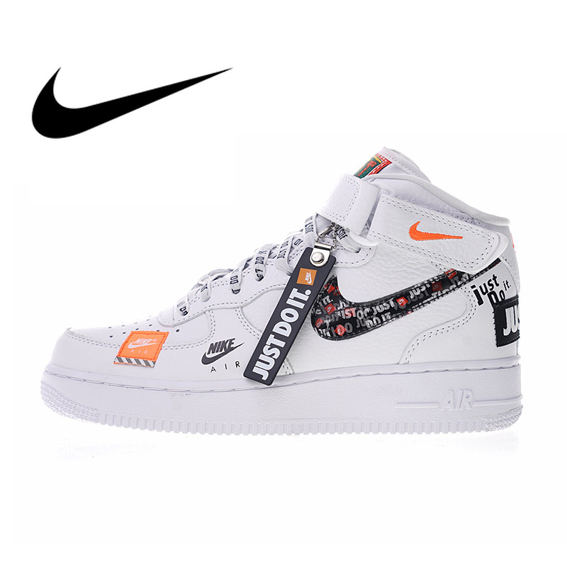 Nike Air Force 1 Mid Women s Skateboarding Shoes Just do it Sneakers  Outdoor Sports PU Leather aa8f636aec5d