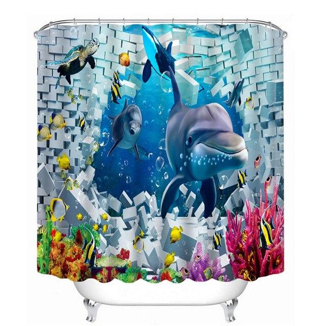 3D Oil Ocean Shark Kids Bathroom Shower Curtain Waterproof,Shark ...