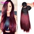 Dois Tons Ombre Cabelo Humano Tecer Brasileira Ombre Borgonha Cabelo 3 Bundles Rainha Cabelo Brasileiro Ombre Tecer Reta Ombre Vermelho cabelo
