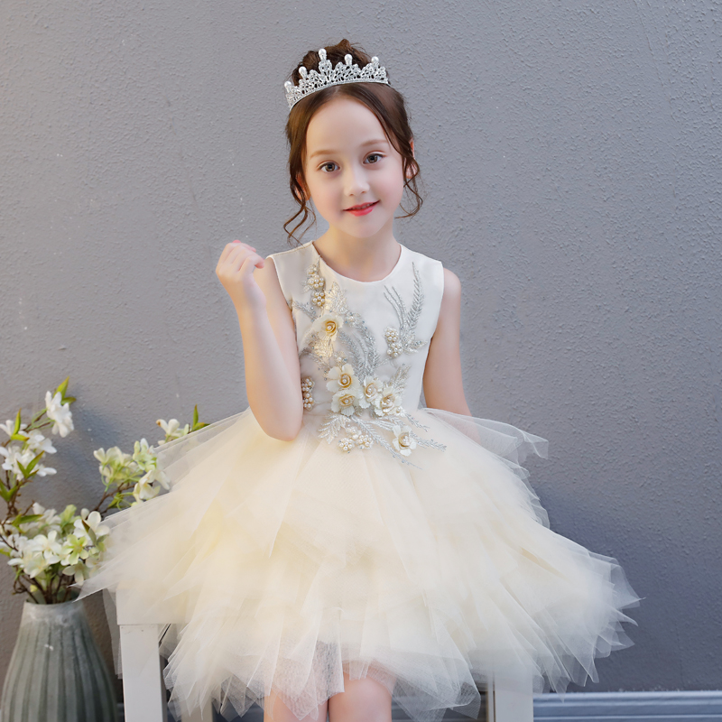 Princess Girls Dress Mesh Pearls Children Wedding Party Dresses Kids Evening Ball Gowns Floral Baby Frocks Clothes for Girl S86 magic time алые звезды