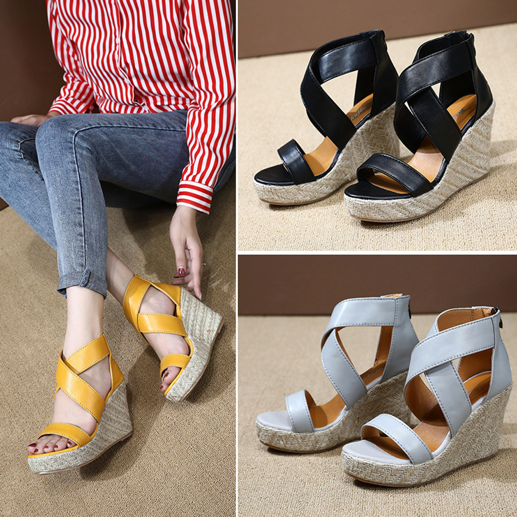 Summer Sandals Wedges Beach-Shoes Open-Toe Women Thick Bottom Roman Lace-Up for Planas