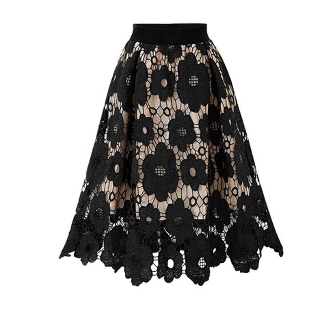 Women's Skirt Skirts faldas jupe femme shein saia Crotch Lace Knee Length Ladies Soft Stretch Flared Printed Skater Skirt #50(China)