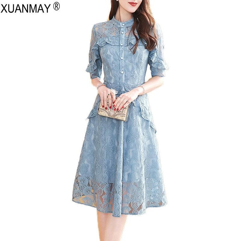 Us 2535 35 Off2019 Summer Vintage Lace Dress Fashion Design Chiffon Long Style Shirt Dress Elegant Summer Womens Lace Chiffon Dress In Dresses