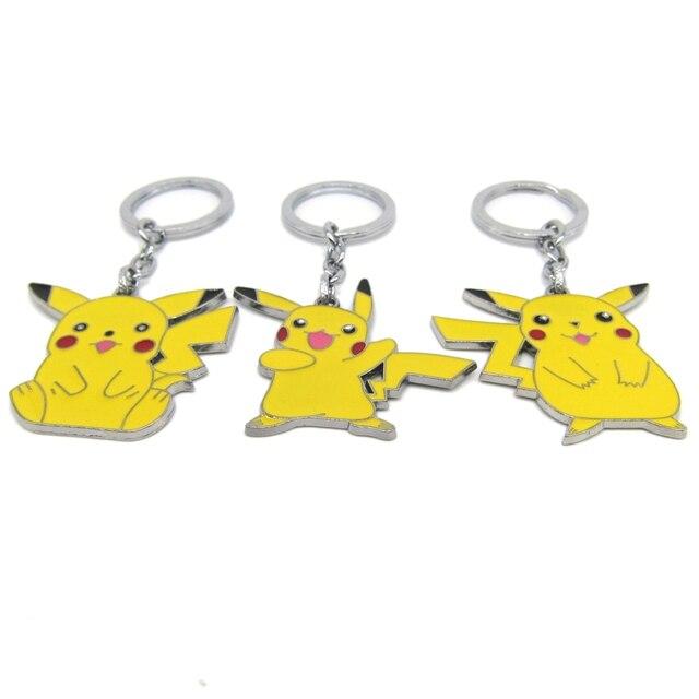 3 Estilo Nueva Pokemon Pikachu Ir Llaveros de Metal Amarillo Colgante Clave cadena de Dibujo Animado Juego de Joyería Gran Regalo para Las Mujeres de Los Hombres Aficionados
