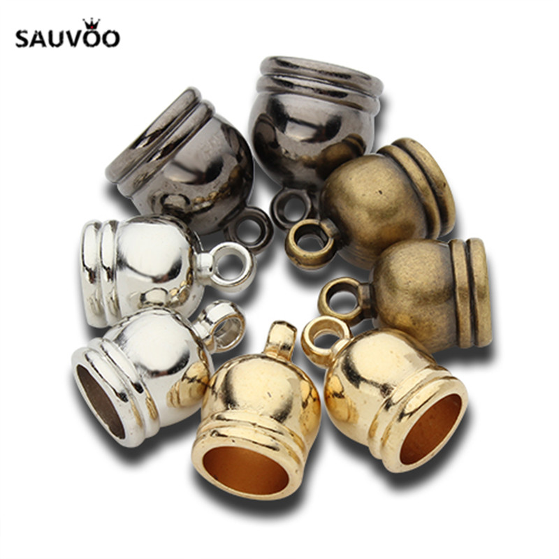 50pcs/lot End Tip Tassel Caps Beads Necklace Round Leather Cord Crimps end Caps Fastener For Jewelry Making Finding DIY Supplies(China)