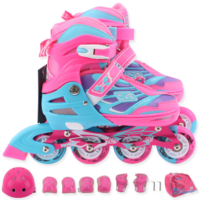1 Set Children Teenagers Beginner Inline Skate Shoes Helmet Knee Protector Bag Adjustable Washable Patines Flash Wheels For Kids new kids children professional inline skates skating shoes adjustable washable flash wheels sets helmet protector knee pads gear