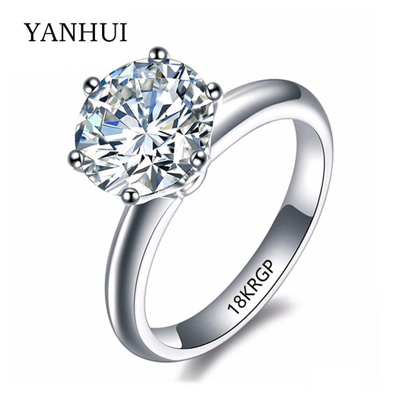 18KRGP Stamp Original Gold Ring Set 8mm 2 Carat Sona CZ Diamant Engagement Ring White Gold Filled Wedding Rings For Women JZR168