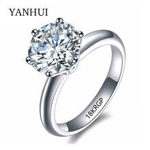 18 18krgp sello original anillo de oro 8mm 2 carat sona cz Anillo de Compromiso de diamantes de Oro Blanco Plateó Los Anillos de Bodas Para Las Mujeres JZR168