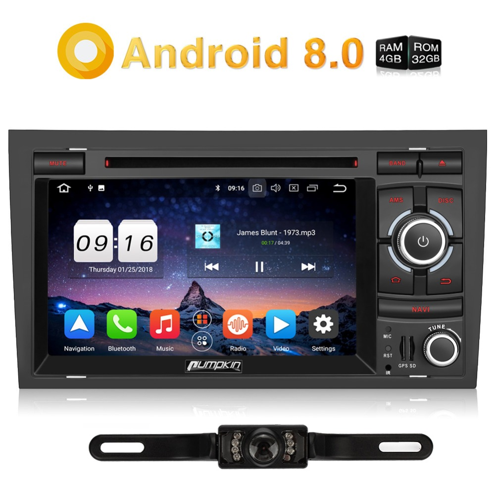 Pumpkin 2 Din Android 8 0 Car Multimedia Dvd Player Car Stereo For Audi A4 2003 2008 Gps