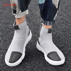 Image 1 - 2018 homens tênis casuais sapatos deslizamento em tenis masculino adulto meias calçado tecer malha respirável estilo masculino adulto leve