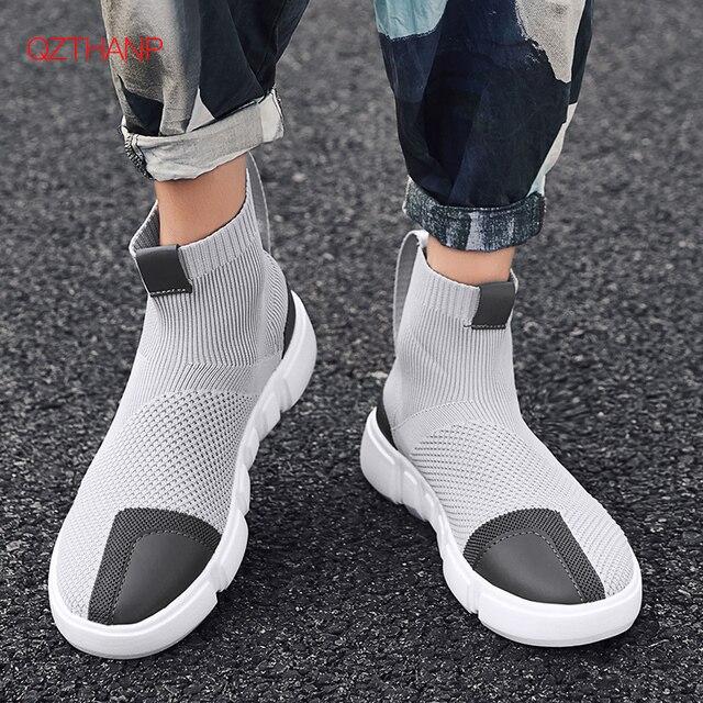 2018 homens tênis casuais sapatos deslizamento em tenis masculino adulto meias calçado tecer malha respirável estilo masculino adulto leve