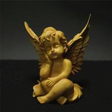 Wood carving angel figure wing statue Cupid Jesus buddha statue decoracion Love Cupid home decoration accessories