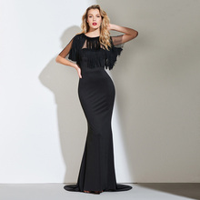 Tanpell with tassel jacket evening dresses black floor length a line dress women formal evening party custom long evening gown